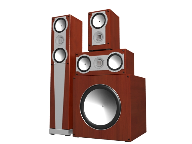 Home audio system subwoofer 3d rendering
