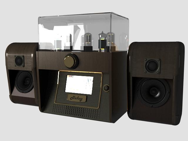 Vintage audio system 3d rendering