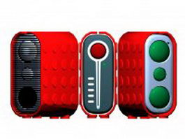 Red cool speakers 3d model preview
