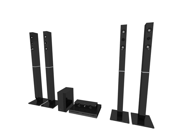 Home theatre system 3d rendering