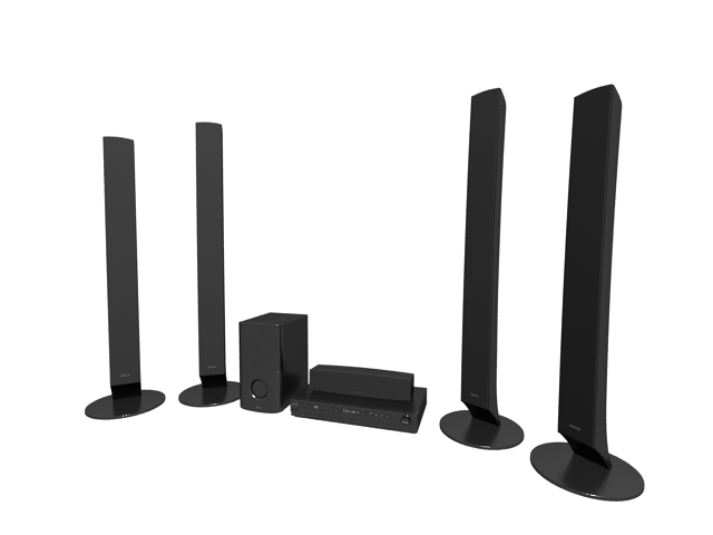 Blu-ray disc home theater system 3d rendering