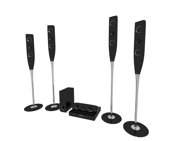 Tallboy 5.1 home theatre system 3d rendering