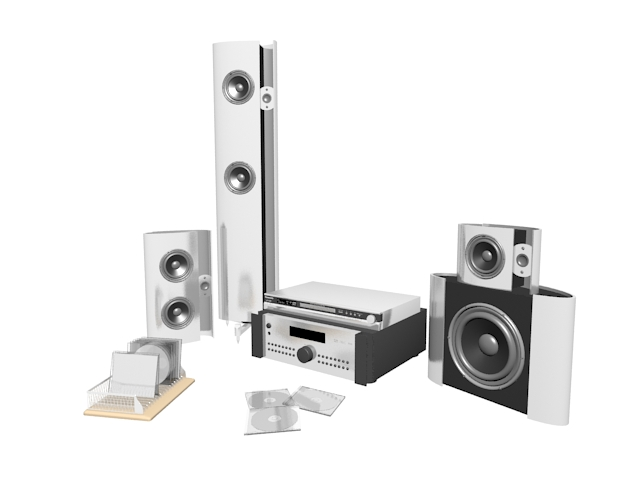 Modern home theatre sound system 3d rendering