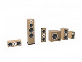 5.1 channel home theater system 3d model preview