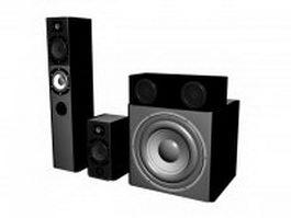 Professional audio speaker set 3d model preview