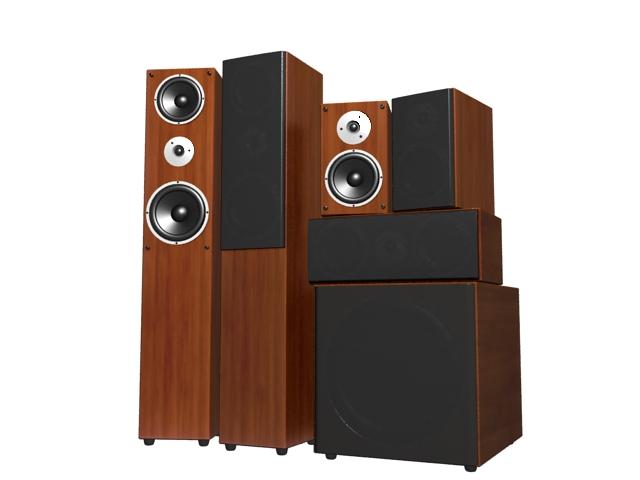 5.1 surround sound system 3d rendering