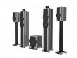 4.1 Surround Sound Speakers 3d preview