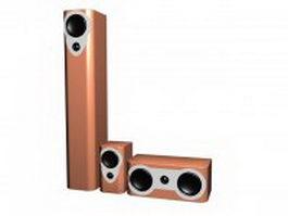 3-Piece speaker set 3d model preview