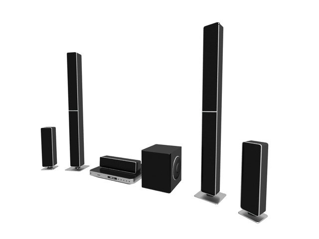 5.1 Home theater system 3d rendering