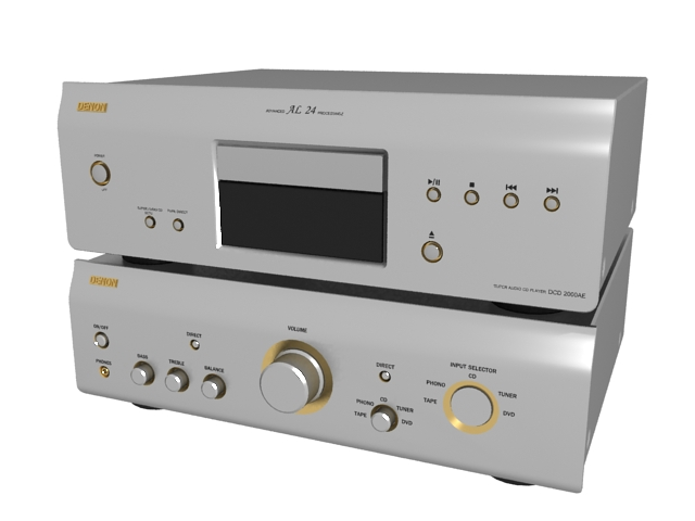 Denon CD player with amplifier 3d rendering