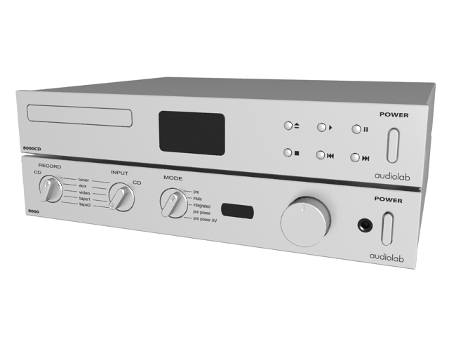 Audiolab CD player and amplifier 3d rendering