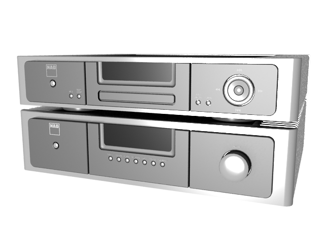 NAD home audiophile amplifier and Disc player 3d rendering