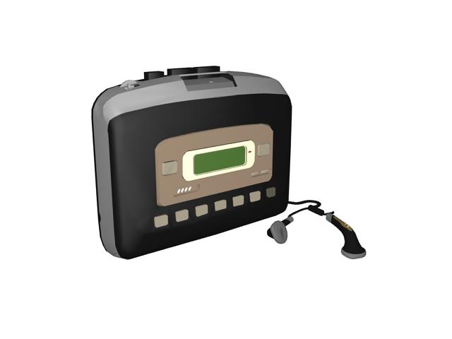 Portable audio cassette player 3d rendering