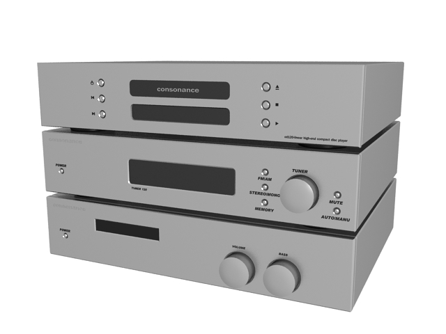 Consonance High-end home audio system 3d rendering