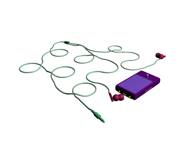 MP4 Player with earphone 3d rendering