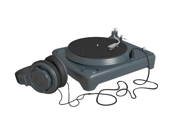 Vintage turntable with headphone 3d rendering