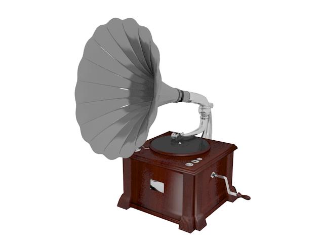 Classical phonograph 3d rendering