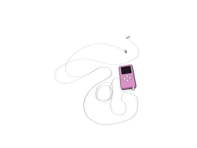 MP3 player with earbuds 3d rendering