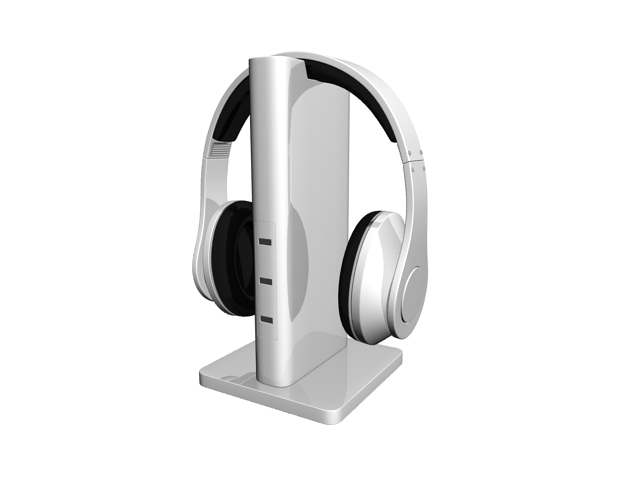 Wireless headphones on a stand 3d rendering