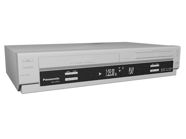 Panasonic DVD Player VCR recorder 3d rendering