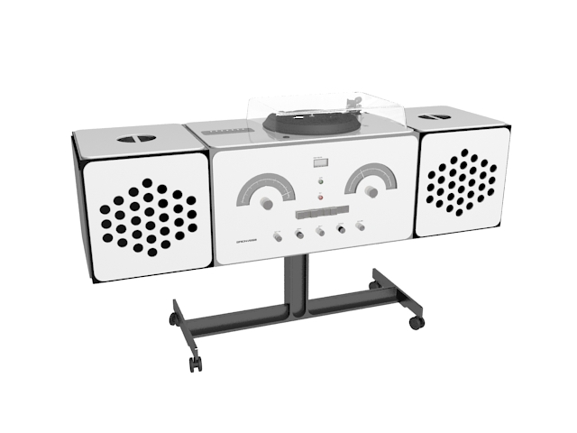 Radio phonograph 3d rendering