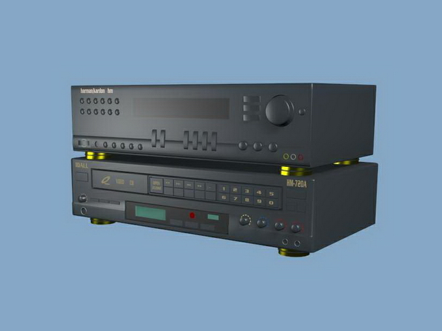 VCD player and amplifier 3d rendering