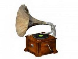 Vintage phonograph 3d preview