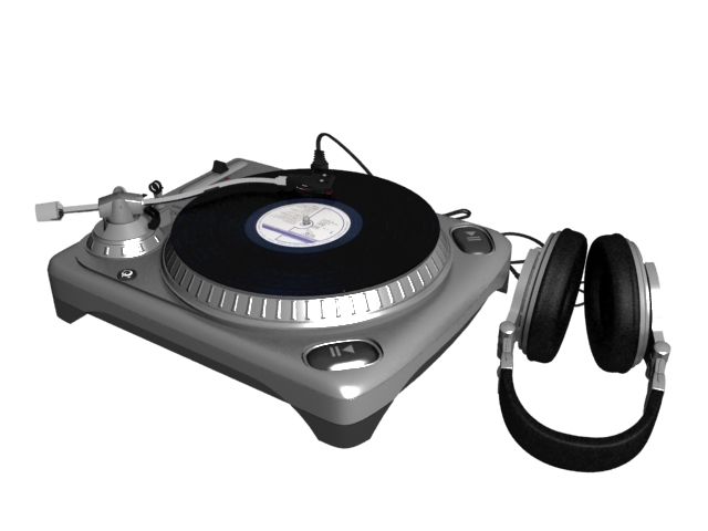 Direct-drive turntable with headphone 3d rendering
