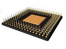 Intel x86 microprocessor 3d model preview