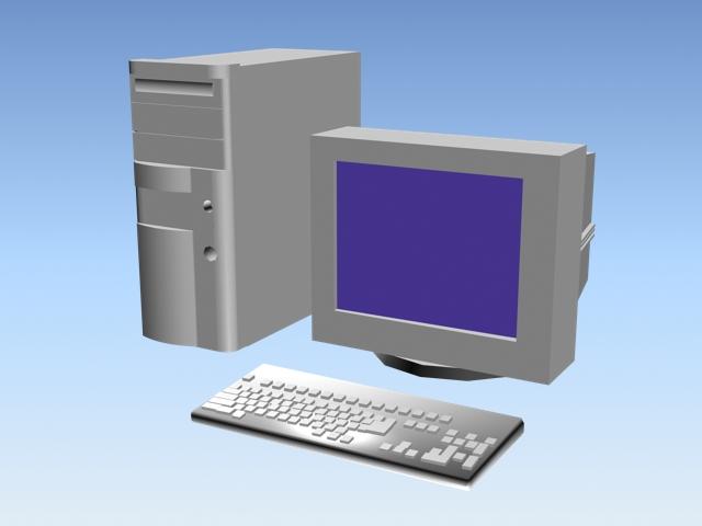 Early desktop PC 3d rendering