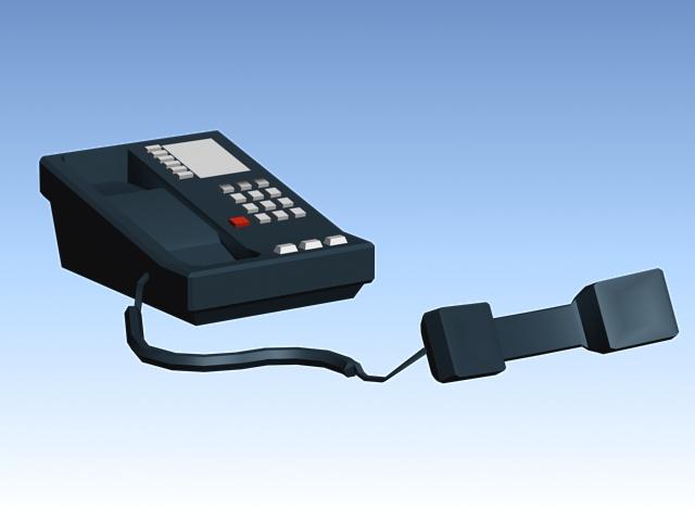 Dark blue telephone 3d rendering