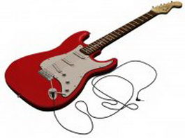 Red fender electric guitar 3d model preview