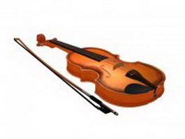 Violin with bow 3d model preview