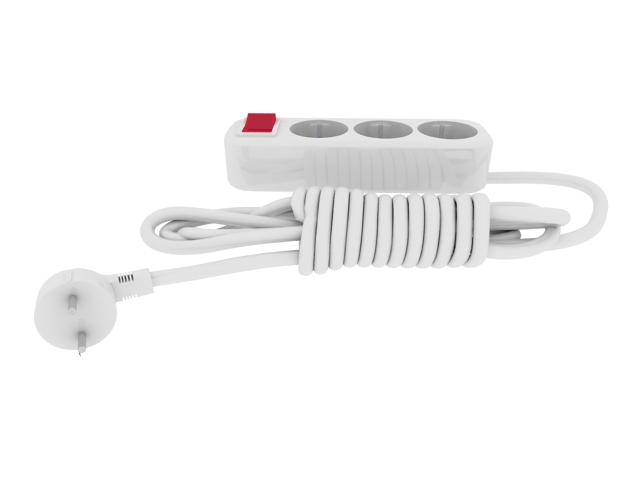White power strip with switch 3d rendering