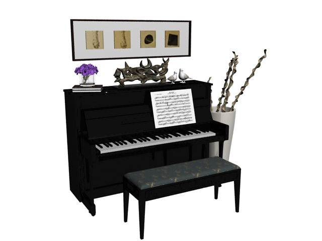 Upright piano room 3d rendering