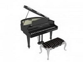 Grand piano and piano bench 3d preview