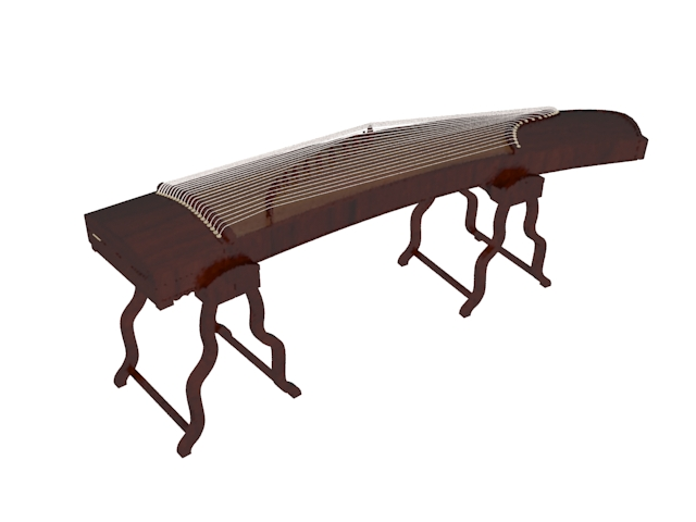 Guzheng Chinese Zither 3d rendering