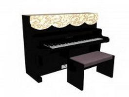 Kawai upright piano 3d preview