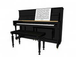 Upright piano with bench and sheet music 3d preview