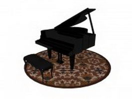 Piano with bench and rug 3d preview