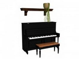 Upright piano and bench 3d preview