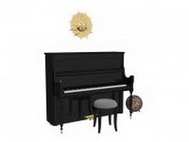 Black piano and decorations 3d model preview