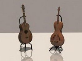 Bass guitar and classical guitar 3d model preview