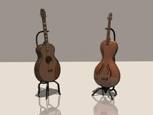 Bass guitar and classical guitar 3d rendering
