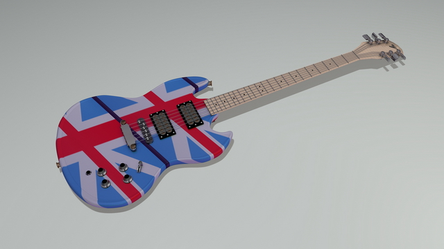 Gibson SG-Style electric guitar 3d rendering