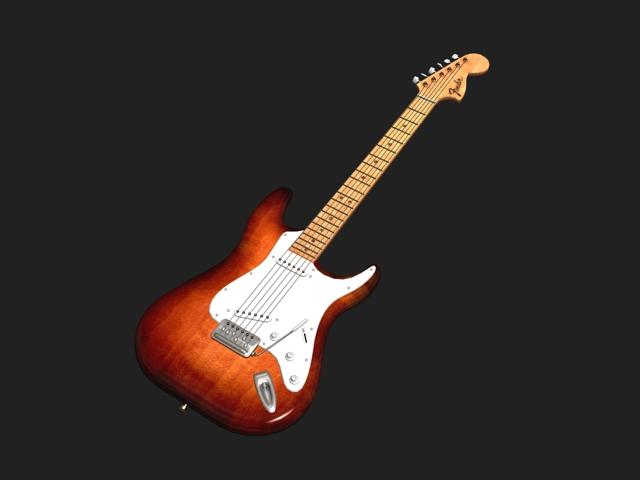 Godin electric guitar 3d rendering