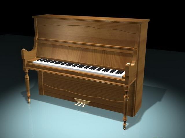 Vertical piano 3d rendering