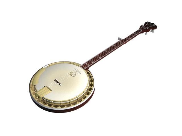 5-string bluegrass banjo 3d rendering