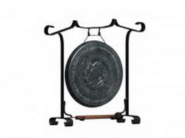 Antique Chinese gong 3d model preview