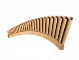 Greek pan flute 3d model preview